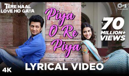 piya o re piya lyrics atif aslam | movie Tere Naal Love Ho Gaya
